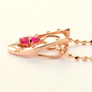 『ルビー + ダイヤモンド馬蹄10金ネックレス』-4