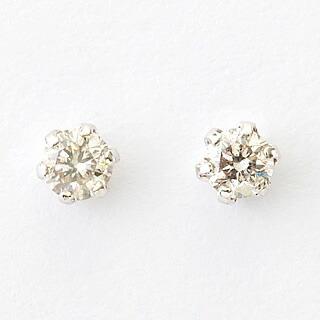 天然ダイヤモンド0.1カラット 10金ホワイトゴールド 一粒ピアス-2