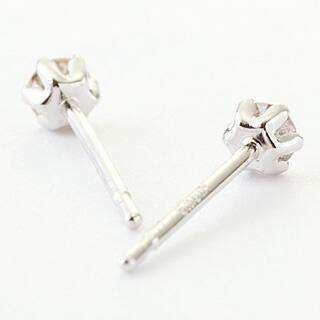 天然ダイヤモンド0.1カラット 10金ホワイトゴールド 一粒ピアス-3