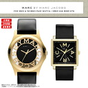 The pair watch of two MARC BY MARC JACOBS (mark by MARC BY marc jacobs) man and woman pair watch set watches popular gold X black & real leather leather belt comes up! MBM1246/MBM1279
