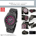MARC BY MARC JACOBS ( Marc by Marc Jacobs ) rubber ladies watch MBM2530 PELLY (Perry) x stainless steel combination belt black × pink cute dress