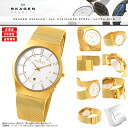 "An SKAGEN scar gene watch North Europe-born super thin design witch! 233XLGG stainless steel gold for only 7mm ""ultra slim"" design men men"
