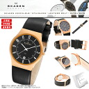 SKAGEN (scar gene) men's watch 233XXLRLB DATE-CALENDAR (date calendar) BLACK LEATHER (black leather) BLACK X PINK GOLD (black X pink gold) MADE IN DENMARK (product made in North Europe Denmark)