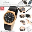 SKAGEN (scar gene) men's watch 233XXLRLB DATE-CALENDAR (date calendar) BLACK LEATHER (black leather) BLACK X PINK GOLD (black X pink gold) MADE IN DENMARK (product made in North Europe Denmark)