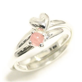 Two heart & rhodochrosite silver rings