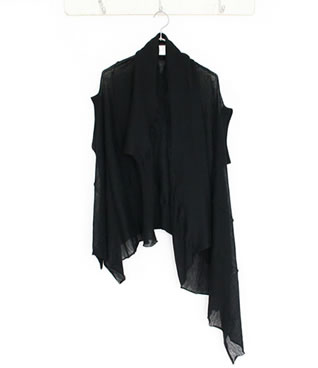 Seam knit asymmetry stole gilet