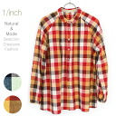 ナチュラルブライトチェックシャツカラーネック gathered blouse Natural bright check shirt collar problem gathers blousefs3gm
