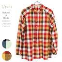 Natural Brightman check shirt collar neck gathers blouse Natural bright check shirt collar problem gathers blouse