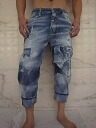 "DSQUARED2 ( dsquared ) ""12 ozDENIM"" and ""DESTROYED PATCH"", ""BIG silhouette"" and ""destroy & patchwork"" cropped Jeans."