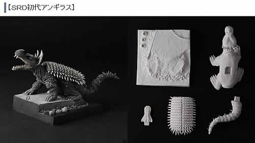 茨木彰氏が語る造形秘話:初代アンギラス(大阪湾) アンギラスが単独で劇中に写し出されるシーンはこれくらいしかないので、このシーンを立体化 しました。それにしてもディフォルメとはいえ刺だらけ甲羅も ボディーのウロコもリアルものと手間は同じですね。