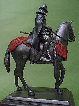 南蛮兜をかぶりビロードのマントを馬上で颯爽と翻す信長の姿を表現