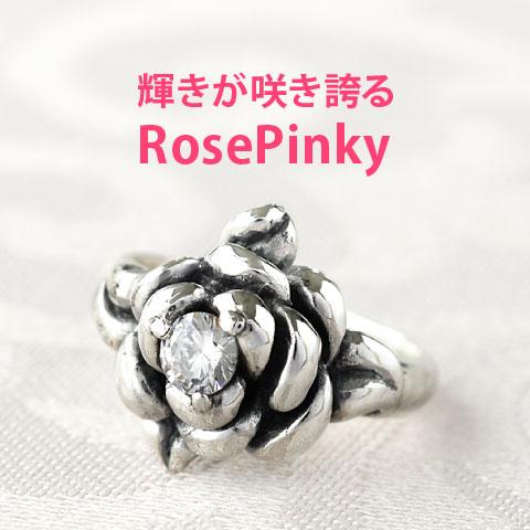 薔薇モチーフピンキーリング