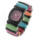 Time Will Tell タイムウィルテル ( タイムウイルテル ) black case ショッキングピンクダイヤル & rainbow color modern & vintage pop Bangle, breath and watch Multi-BLBR