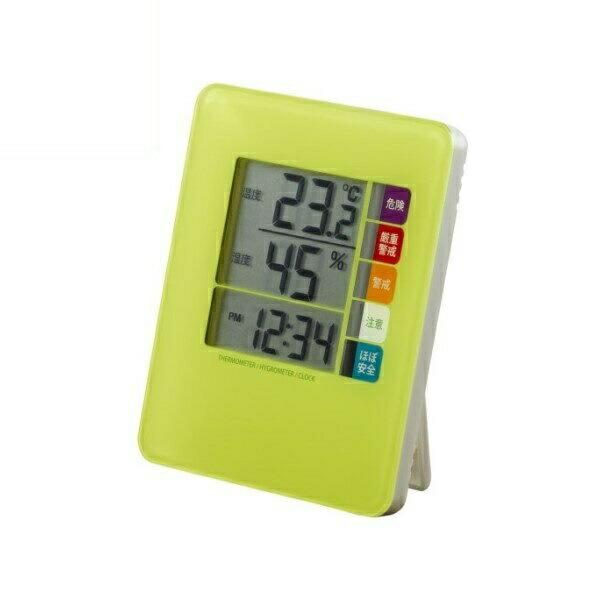 ヤザワ 時計付デジタル熱中症計 グリーン DO04GR