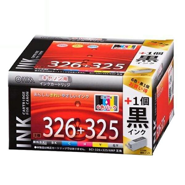【期間限定ポイント2倍】【送料無料】OHM キヤノン互換インク BCI-326+325/6MP互換 6色パック+顔料ブラック×1 INK-C326325B-6P-1