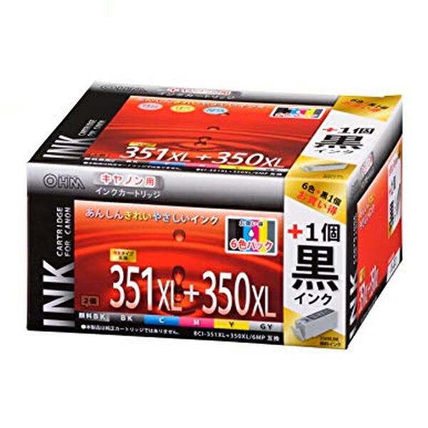 【期間限定ポイント2倍】【送料無料】OHM キヤノン互換インク BCI-351XL+350XL/6MP互換 6色パック+顔料ブラック×1 INK-C351350B-6P-1