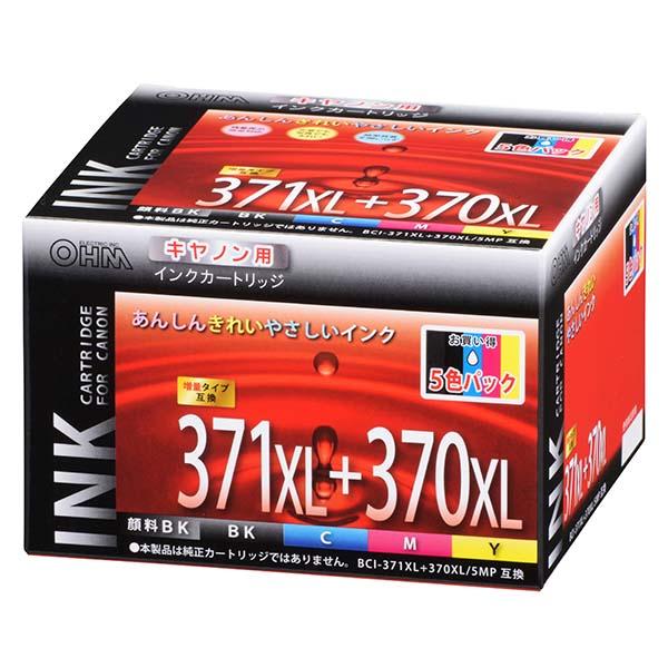 OHM キヤノン互換インク BCI-371XL+370XL/5MP互換 5色パック INK-C371370XLB-5P
