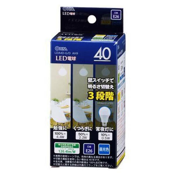 OHM LED電球 昼光色 40W/530lm/E26/広配光220°/密閉形器具対応/調光機能付 LDA4D-GDAH9