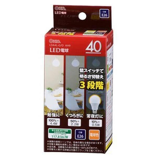 OHM LED電球 電球色 40W/518lm/E26/広配光220°/密閉形器具対応/調光機能付 LDA4L-GDAH9