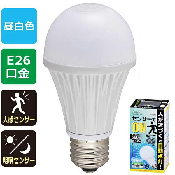 OHM 人感・明暗センサー付LED電球 昼白色 40W/560lm/E26 連続点灯モード搭載 LDA5N-HR51