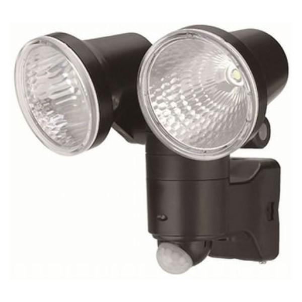 ヤザワ LEDセンサーライト 2灯 1W 乾電池式 IP44/防雨仕様 ブラック  防犯・防災グッズ SL12LED