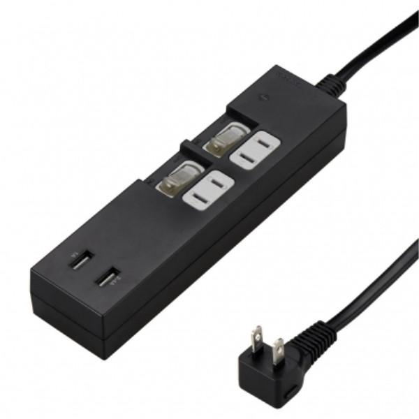 【期間限定ポイント5倍】ヤザワ 個別スイッチ付 USB電源タップ AC2個口/USB2ポート 3.4A出力対応 2m ブラック OAタップ Y02KS422BK2U