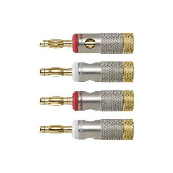 オーディオテクニカ バナナプラグ メタルサイド接続型 4個入り 芯径5mmまで AT6303