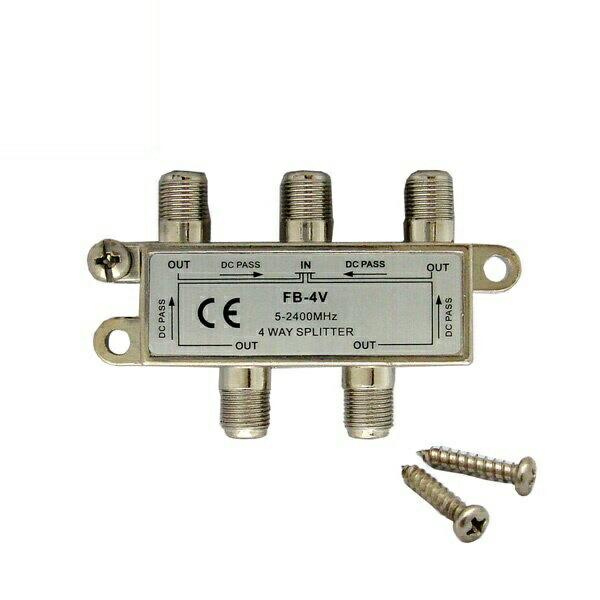 【返品保証】アンテナ4分配器 全端子電通型 地デジ・BS・CS対応 5-2400MHz