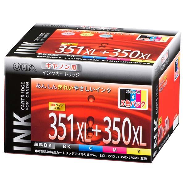 OHM キヤノン互換インク BCI-351XL+350XL/5MP互換 5色パック INK-C351350XLB-5P