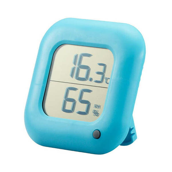 OHM デジタル温湿度計 ブルー TEM-100-A