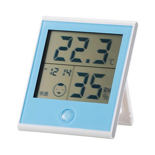 OHM 快適表示・時計機能付きデジタル温湿度計 ブルー TEM-200-A