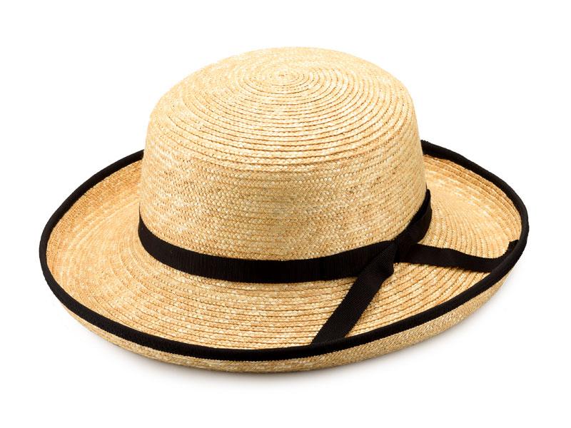 田中帽子店 uk-h041 Lily リリー エッジアップ パイピング 麦わら帽子(57.5cm) 印象を引き締めるパイピングを施した麦わら帽子。