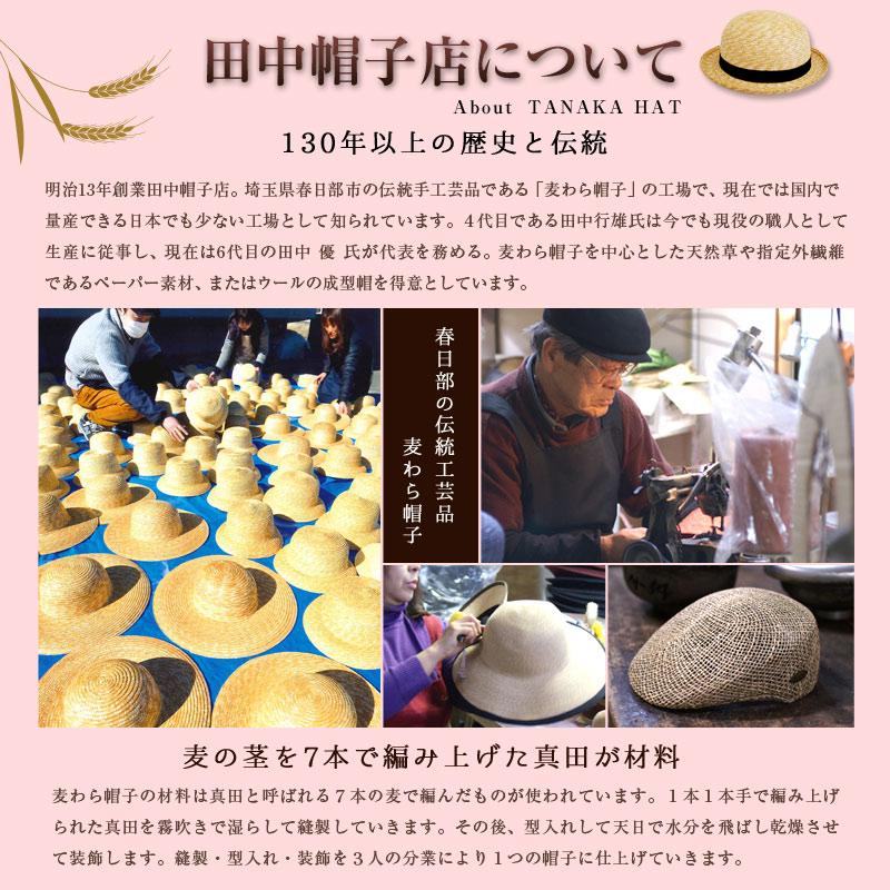 田中帽子について About  TANAKA HAT 100年以上の歴史と伝統 埼玉県春日部市の老舗帽子店 百年の歴史と伝統の田中帽子 日本人の頭型で作られた、日本人のための麦わら帽子