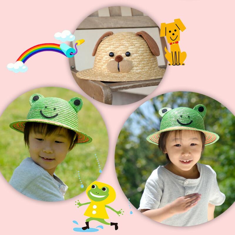 伝統の逸品 田中帽子の 子供用動物麦わら帽子。子供用の動物をあしらった可愛い麦わら帽子<日本製> カエル
