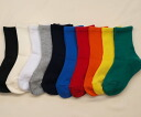 Plain weave supporters solid color kids crew socks Japan-find 3 feet 1050 yen