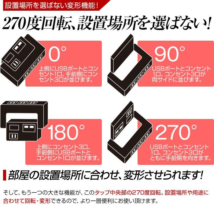 電源タップ OAタップ 延長コード 延長ケーブル 4口 USB充電 デライト スイッチ 雷ガード iPhone5s iPhone5c iPhone5 スマホ スマートフォン 充電 【送料無料】