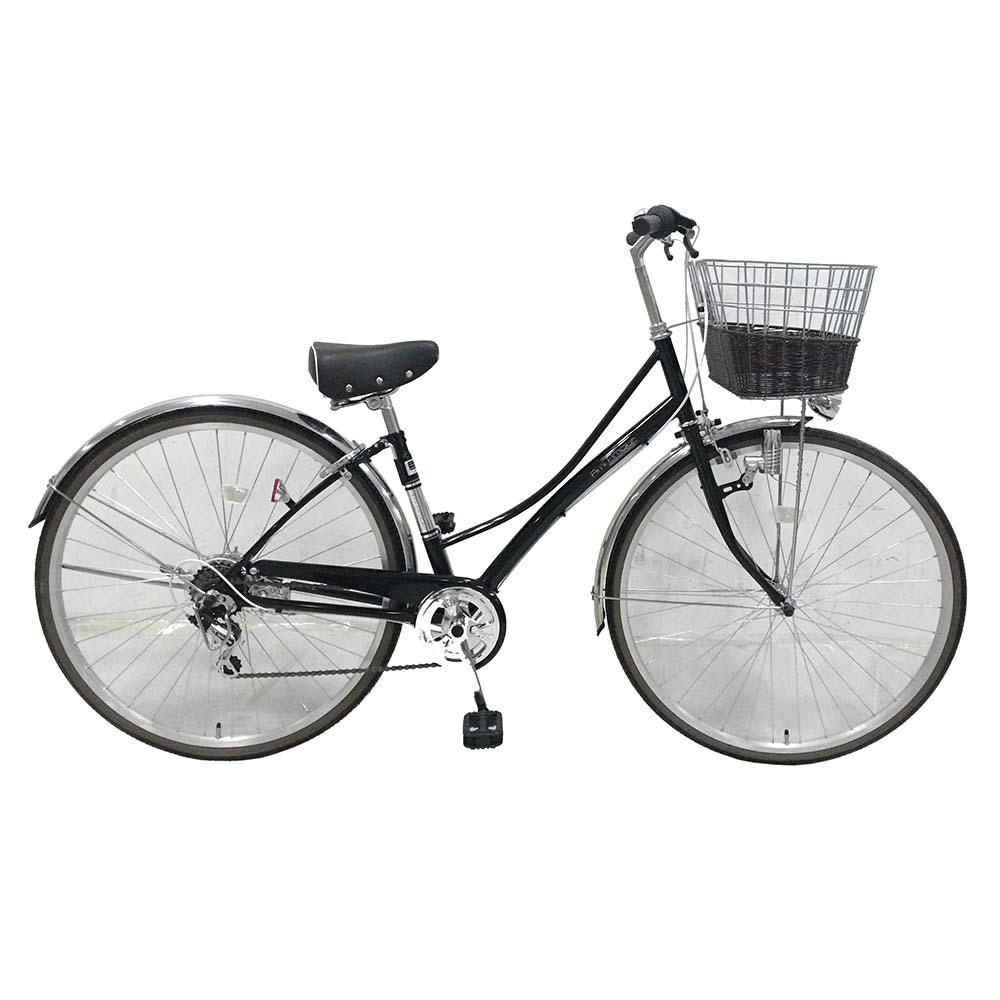 【送料無料 自転車 おしゃれで人気】Ami Amore(アミアムール)シティサイクル(ホワイト/白)<通勤 通学に最適>【27インチ シティ車 外装6段ギア LEDダイナモ 籐風かご】ママチャリ 6段変速で、大型籐風かごとテリーサドルがかわいい通勤にも通学にも使える自転車。ステンレスパーツを多数利用しているためさびにくく長く利用できるのが特徴です。