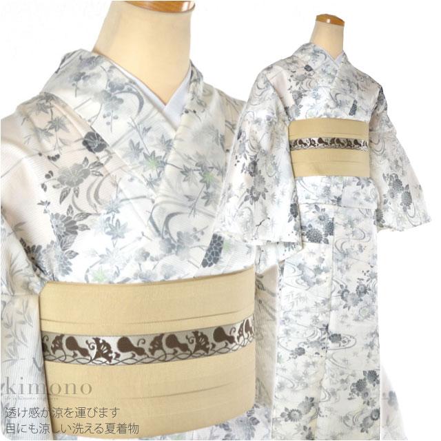 【ポリエステル着物】夏の洗える着物/絽 花柄 L お仕立て上がり品