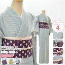 Heading out for a single cloth set stripes M, L, BL size, four-point set ( unlined kimono Nagoya-Obi Leno band fried g ) 1-3 fs04gm