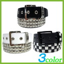 The new belt mens triple pyramid studded belt 3 colors ★ leather Tri-buckle belt Beau! Recommended for casual Salon series leather belts ★