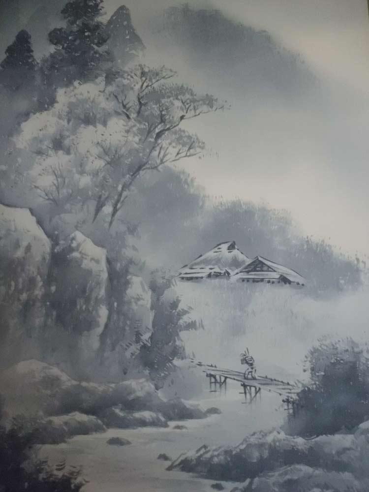 悬挂滚动水墨山水,库拉奇邦彦号 67000 日元洪释五垂直轴国家
