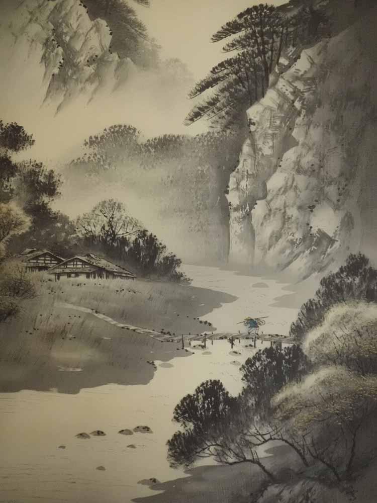 挂滚动水墨山水,森林雪教堂等距五垂垂滚动艺术年鉴出版的作家签名