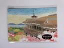 Machiko child Yuzen crepe postcard kimono postcard Kyoto Kiyomizu-dera