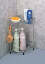 Stainless steel corner bath rack 2-hook with SOAP dish
