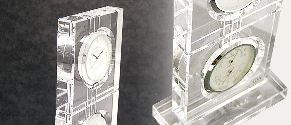 ガラス温湿度時計「アエリア」