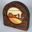 Wooden mosaic work table clock WK-2(PK-WK-2) (検 )|) Clock | Table clock | Table clock | Wooden clock