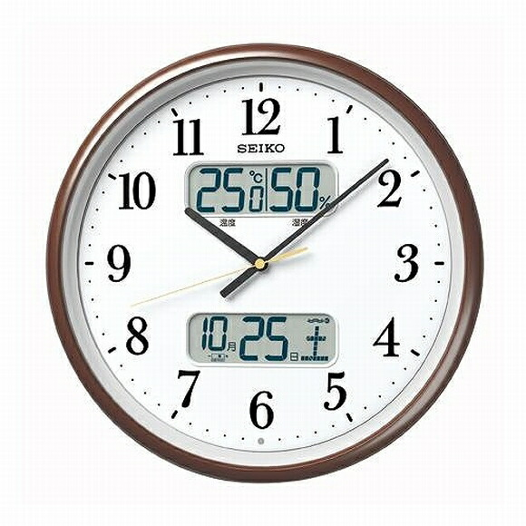 seiko seiko wall clock analog temperature humidity display radio clock