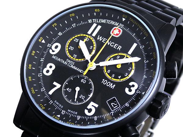 ウェンガー WENGER 腕時計 スイス製 コマンド クロノグラフ 70705XL メンズ ブラック メタルベルト -1