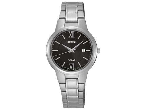 SEIKO セイコー 逆輸入 ソーラー レディース 腕時計 SUT229P1 ブラック メタルベルト-1