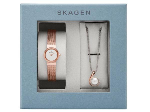 スカーゲン SKAGEN レディース 腕時計 ネックレス ギフトボックス セット SKW1067-3